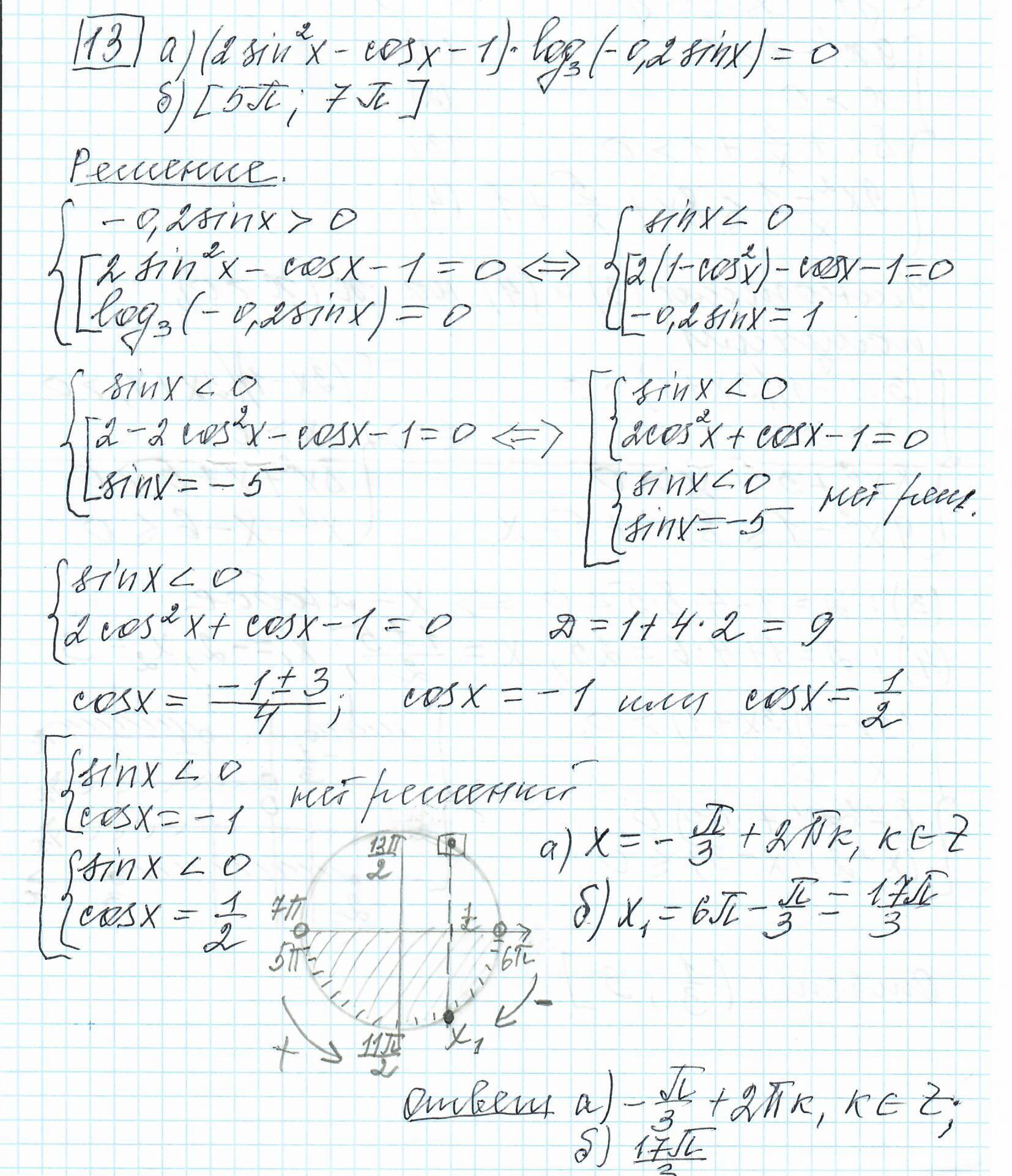 Задние 13, Вариант 8, решение и ответ - Ященко ЕГЭ 2019 математика профиль 36 вариантов